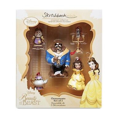 Disney Mini Sketchbook Beauty And The Beast Christmas Decoration Ornament New
