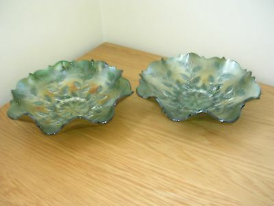 Pair of Vintage Carnival Glass Bowls Green