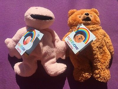 """Rainbow Soft Toys Plush George And Bungle With Tags 7"""" Bean Toys"""