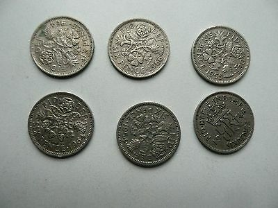 Silver Sixpence coins. Set of 12