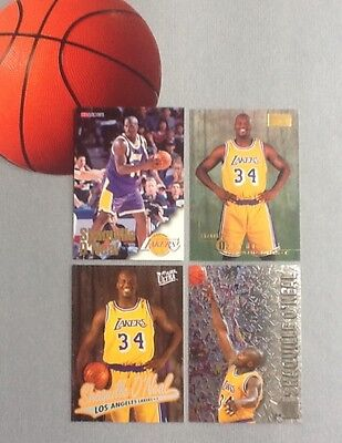 Shaquille O'Neal 4-card Lot NBA Basketball Trading Cards - Los Angeles Lakers