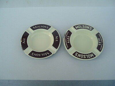 Molson's Brewery , Montreal --  Two Uncommon  Porcelain Ashtrays