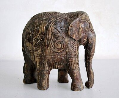 1900's Antique Old Original Wooden Hand Carved Beautiful 6'' Elephant Statue