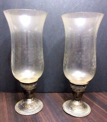 Duchin Sterling Silver Candle Holder Stick Set Pair Original Glass Globes .925