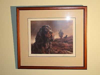 Head of Gordon Setter, Mick Cawston, Signed Limited Edition Print, Framed