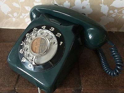 Vintage Green Rotary Telephone. GPO 746 Original And Working.