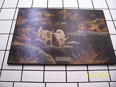 Vintage Vietnamese Lacquer on Wood Painting - Wartime Presentation Piece 1968-69