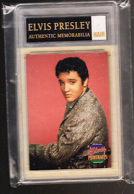 Rare Elvis Presley Certified Piece Of Hair With Card Coa Studio Portrait