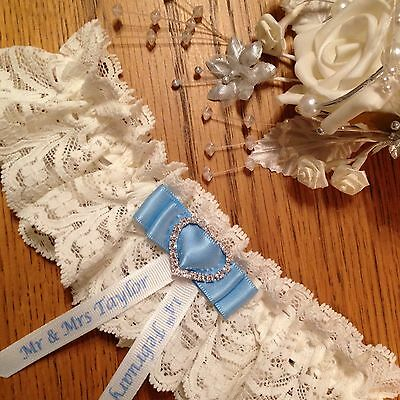 Personalised Wedding Garter, Plus Size/Large, Cream With Blue Bow