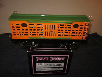 MTH 10-2054 Tinplate Traditions Standard Gauge Orange & Pea Green Cattle Car