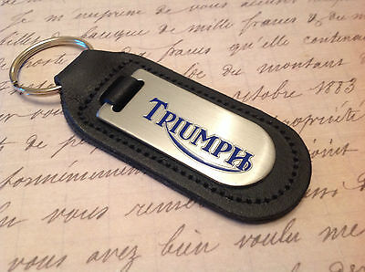 TRIUMPH Key Ring Etched and infilled On Leather