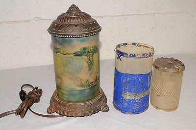 Antique SCENE-IN-ACTION Motion ROTATING SHADE Cast Iron LAMP/LIGHT Parts/Restore