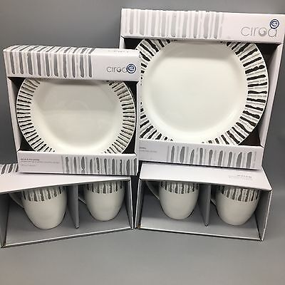 12pc Ciroa Silver Platinum Stripe Dinner Salad/Accent Plates Mug Set Holiday New
