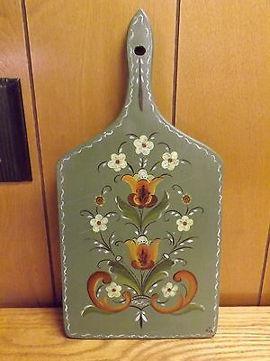 "Vintage 1978 Rosemaling Hand Painted Wood Cutting Board / Wall Art - Signed ""MK"""