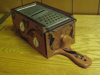 "Vintage Rosemaling Hand Painted Wood Box w/ Cheese Grater - Signed ""BERN"""