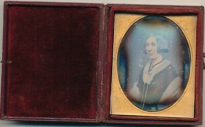 1/9 Plate Hand Tinted  Daguerreotype of a Lady England  C1845