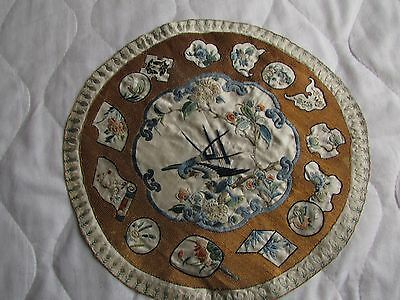 antique Chinese silk embroidery, circular panel with bluebirds, flowers, scrolls