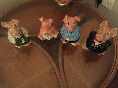 Nearly Full Set Of Natwest Money Pigs, Perfect Condition Missing Son