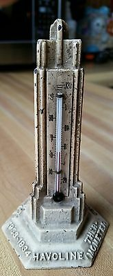 Antique 1933 Havoline Tower Chicago Worlds Fair Cast Iron Thermometer