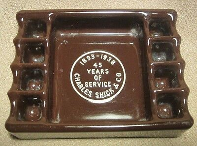 Old 1893-1938 Charles Shick & Co 45 yrs serv Advertising Snuff-a-Rette Ashtray