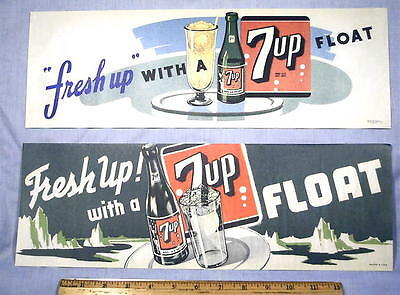 1948 7up Soda Fountain Ice Cream Float Signs