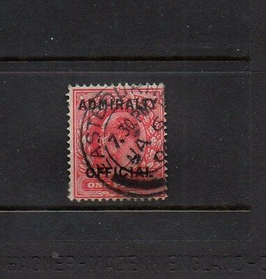 GB ADMIRALTY OFFICIAL OVPT ON 1d SCARLET KING EDWARD VII STAMP SG O108 - USED