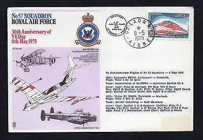 Gb France 1975 30Th Anniversary Of Ve Day Commemorative Cover Raf 57 Squadron