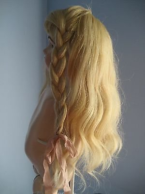 """Vintage Large Doll Wig Long Blonde Human Hair fits 13.5"""" BISQUE HEAD DOLL"""