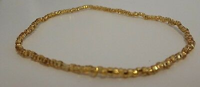 handmade stretchy elastic gold seed bead anklet 9.4 inches