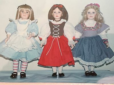 Three Porcelain Storybook Doll Set  Master Piece Gallery Thelma Resch Collection
