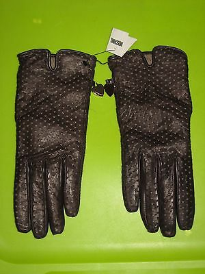 NWT Moschino Women's Brown Perforated Leather Gloves Italy Cashmere Lined Size 8