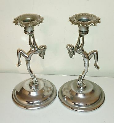 Stunning Pair Of Antique Art Deco Chrome Plated Naked Lady Candlesticks