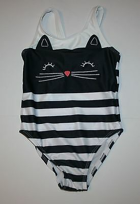 NEW Gymboree Kitty Cat Black White Striped One-Piece Swimsuit NWT 3T  Swim