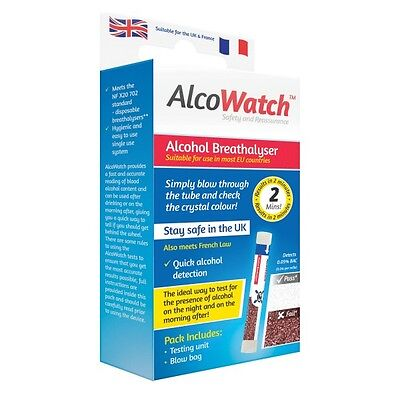 AlcoWatch Singles NF Alcohol Breathalyser Tester - UK & France Legal French