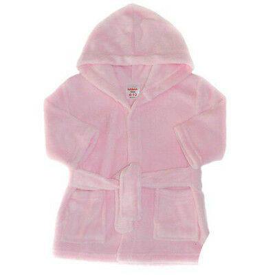 Baby Girl Pink Bathrobe Dressing Gown Bath Time Bedtime 12-18 Months