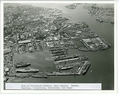 Royal Navy, Original Photo, Aerial View, Portsmouth Dockyard, RARE 4 Carriers