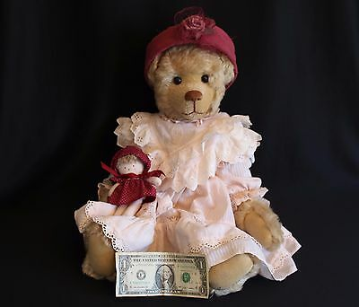 ONE OF A KIND SIGNED JOANNE MITCHELL MOHAIR BEAR w/HAT AND DOLL