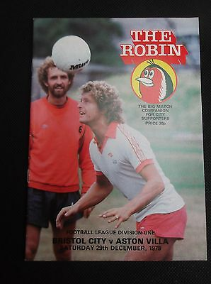 BRISTOL CITY v ASTON VILLA     LEAGUE DIVISION ONE   29th DECEMBER 1979