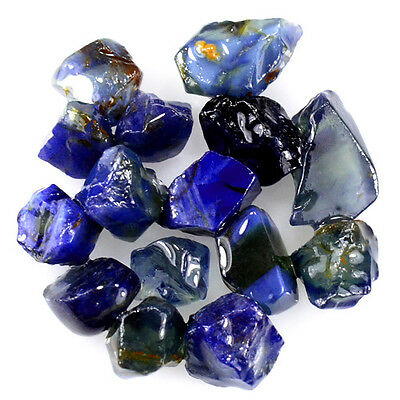 UNHEATED! 15pcs, 20.10ct NATURAL100% UNHEATED BLUE SAPPHIRE ROUGH SPECIMEN NR!