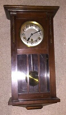 Grandfather Clock Wall Mounted With Pendulum And Winding Key