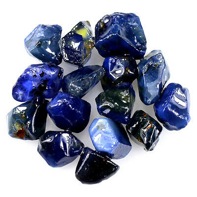 UNHEATED! 15pcs, 20.95ct NATURAL100% UNHEATED BLUE SAPPHIRE ROUGH SPECIMEN NR!
