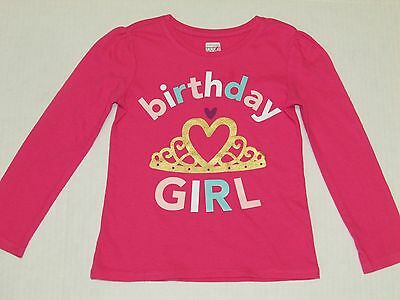 "Girls ""Old Navy"" Pink Birthday Girl Long Sleeve 100% Cotton T-Shirt - Size 4T"