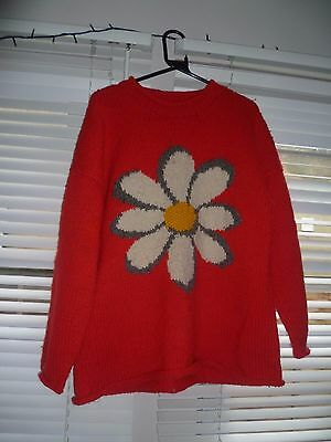 Pachamama Red Flower Vintage 1990's Jumper