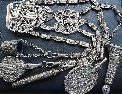 antique Victorian EPNS SILVER chatelaine sewing etui complete ornate green man