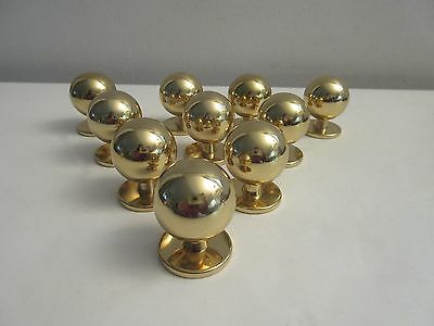 Midcentury Modern Solid Brass Ball Cabinet Door Drawer Pulls Knobs X10 Lot 2