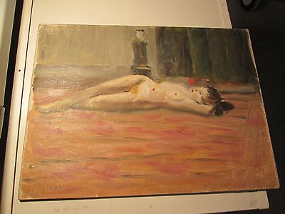 1930's Nude Woman Oil On Board Painting Signed Michelle Cafarelli 16 X 12 B101