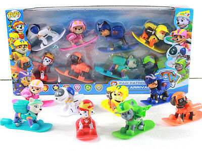 8 pc / set  Paw Patrol Figures Backpack Projectile + Snowboard Toy Kids gifts