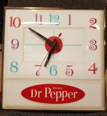 Vintage Pam Illuminate Dr Pepper Soda Ice Cream Parlor-Diner-Store Display Clock