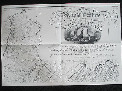 1859 9PIECE LARGE Map of Virginia 1975 Reproduction 84x57 Herman Böÿe