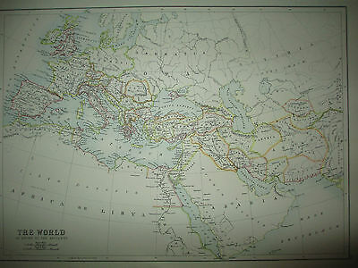 """RARE Original 1897 """"The World as Known to the Ancients"""" Map Bartholomew Colored"""